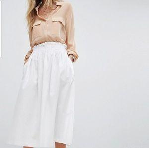 ASOS white elastic gathered waist midi skirt 8